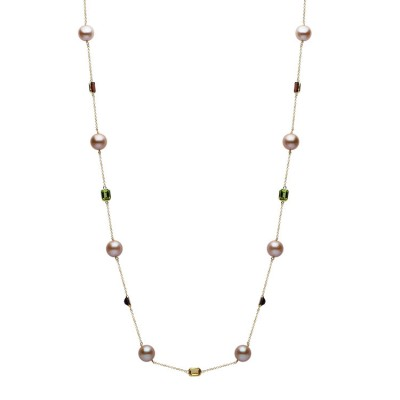 14K Yellow Gold 10-11mm Pink Freshwater Pearl & Semi Precious Necklace - N005202