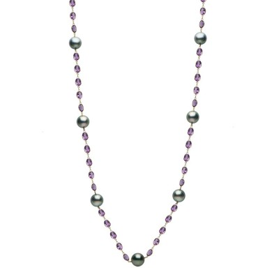 14K Yellow Gold 12-13mm Tahitian Pearl & Amethyst Necklace - N005205