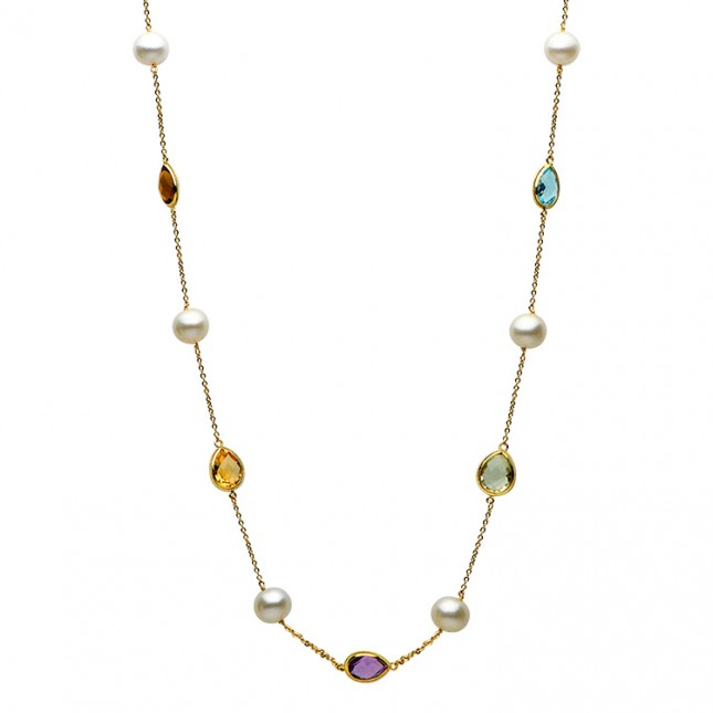 Pearl Tin Cup Necklace - N005022