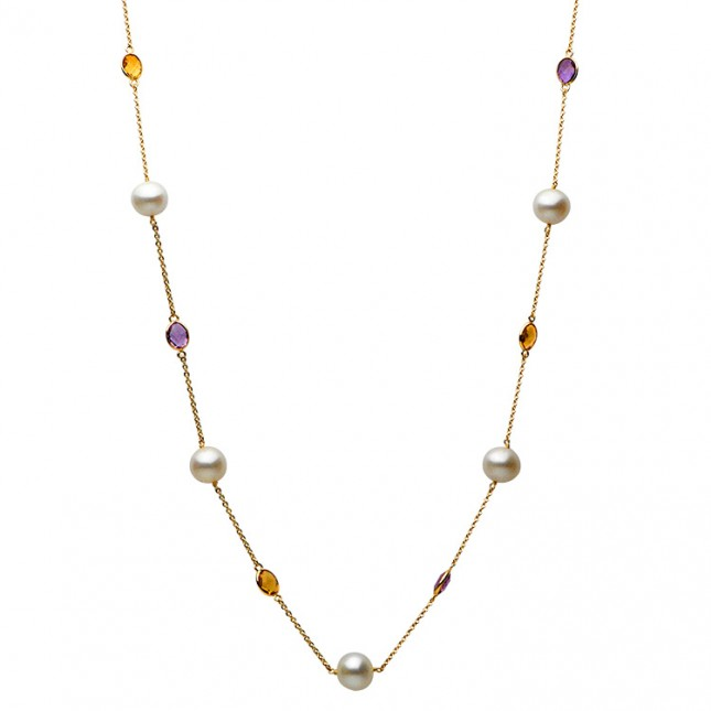 Pearl Tin Cup Necklace - N005040