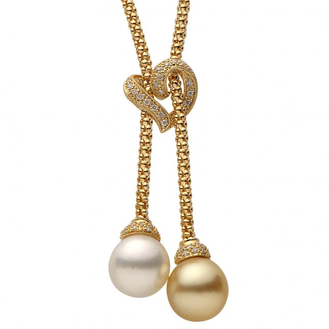 Pearl and Diamond Lariat Necklace (0.34 ct. tw.) - N005059-1