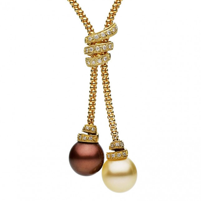 Pearl and Diamond Lariat Necklace (0.33 ct. tw.) - N005108