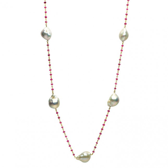 Pearl Tin Cup Necklace - N005185