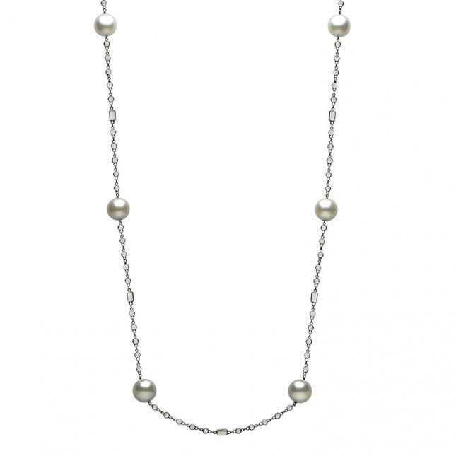 14K Black Gold 12-13mm South Sea Pearl & White Topaz Necklace - N005193