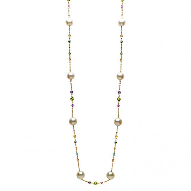 14K Yellow Gold 10.5-11.5mm Freshwater Pearl & Semi Precious Necklace - N005195