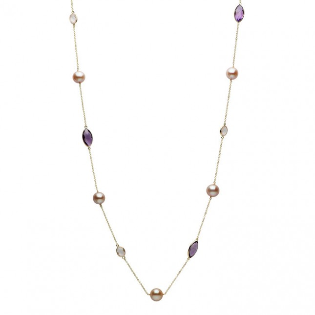 14K Yellow Gold Pink Freshwater Pearl, Amethyst & Rose Quartz Necklace - N005201