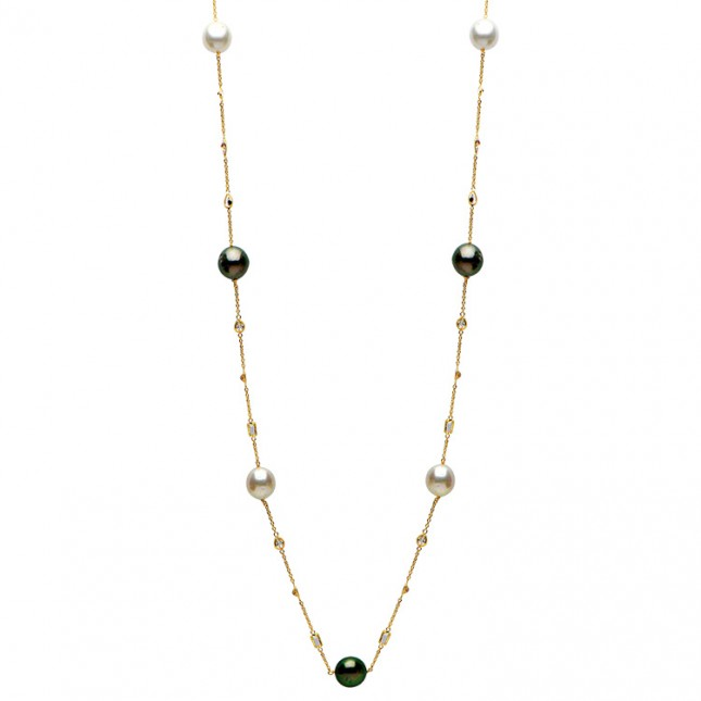 14K Yellow Gold 11-12mm South Sea & Tahitian Pearl & White Topaz Necklace - N005206