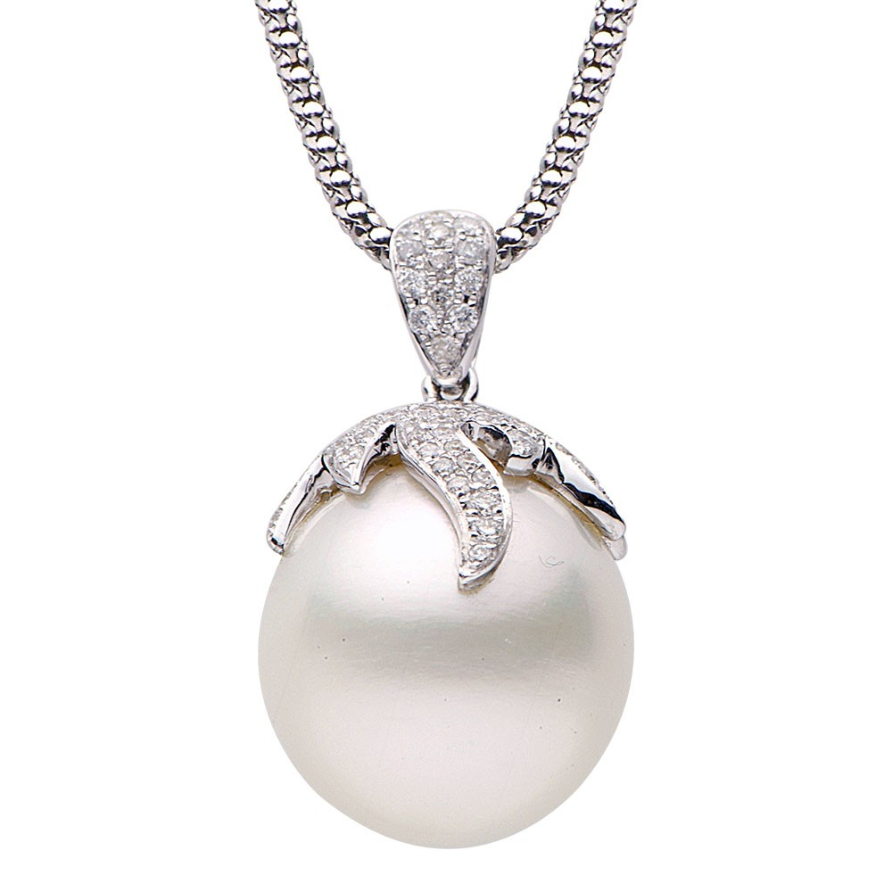 Pearl And Diamond Pendant 0 75 Ct Tw Innovative Pearl
