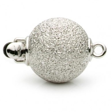 14K White Gold Diamond Cut Ball Clasp - C114 - Small Image