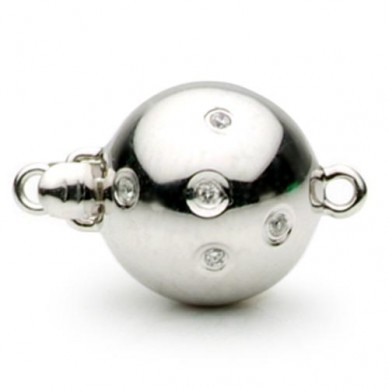 14K White Gold Scattered Diamond Ball Clasp - C120 - Small Image