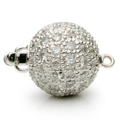 14K White Gold Pave Diamond Ball Clasp - C124 - Small Image