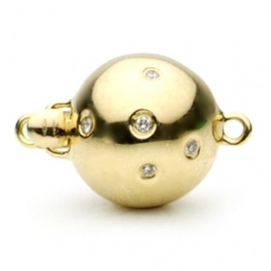 14K Yellow Gold Scattered Diamond Ball Clasp - C220 - Small Image