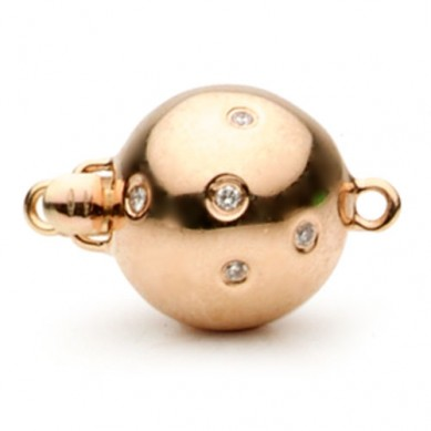 14K Rose Gold Scattered Diamond Ball Clasp - C320 - Small Image