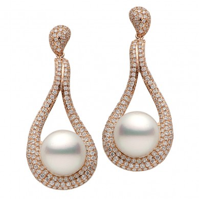 Pearls and Diamond Earrings (3.45 ct. tw.) - E002044-1 - Small Image