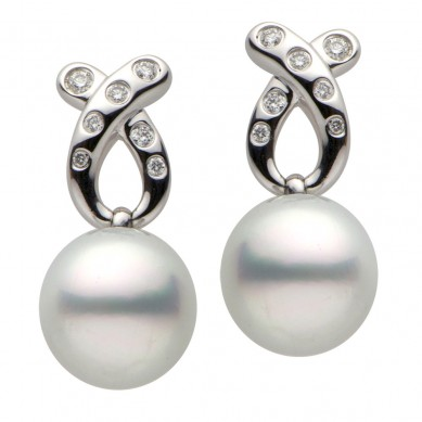 Pearls and Diamond Earrings (0.24 ct. tw.) - E002240 - Small Image