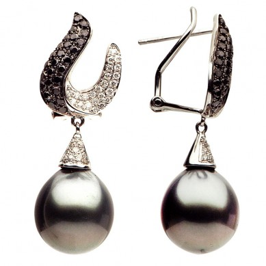 Pearls and Diamond Earrings (0.98 ct. tw.) - E002263 - Small Image