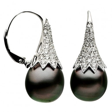 18K White Gold 11-12mm Tahitian Pearl & Diamond Earrings (0.95 ct. tw.) - E002346 - Small Image