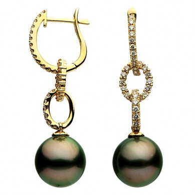 18K Yellow Gold 11-12mm Tahitian Pearl & Diamond Earrings (0.81 ct. tw.) - E002349-1 - Small Image