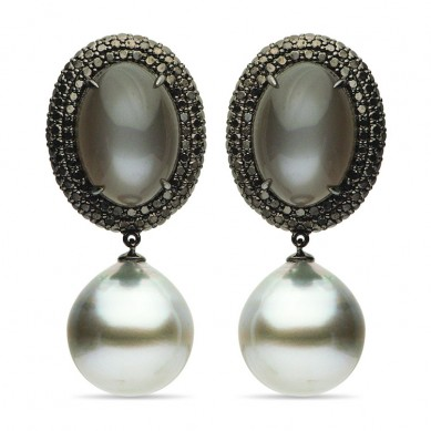 18K Black Gold 15-16mm Tahitian Pearl, Moonstone & Diamond Earrings - E002364 - Small Image