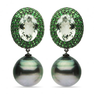 18K Black Gold 15-16mm Tahitian Pearl, Moonstone & Tsavorite Earrings - E002365 - Small Image