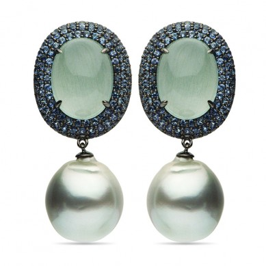 18K Black Gold 15-16mm Tahitian Pearl, Aquamarine, & Sapphire Earrings - E002366 - Small Image