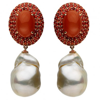 18K Rose Gold 16-17mm Freshwater Pearl, Moonstone & Sapphire Earrings - E002367-2 - Small Image