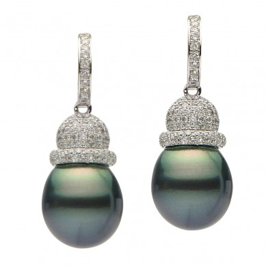 Pearls and Diamond Earrings (1.05 ct. tw.) - E002372 - Small Image