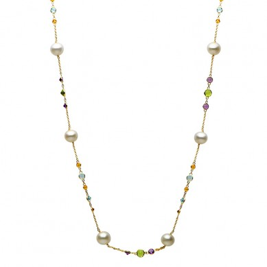 Pearl Tin Cup Necklace - N005035 - Small Image