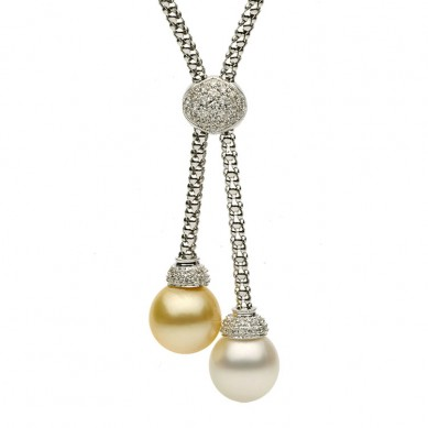 18K White Gold 11-12mm White & Golden South Sea Pearl & Diamond Necklace (0.37 ct. tw.) - N005060 - Small Image