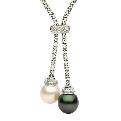 18K White Gold 11-12mm South Sea Pearl, Tahitian Pearl & Diamond Necklace (0.27 ct. tw.) - N005061 - Small Image