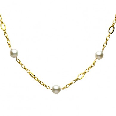 14K Yellow Gold 10-12mm South Sea Pearl Necklace - N005076 - Small Image
