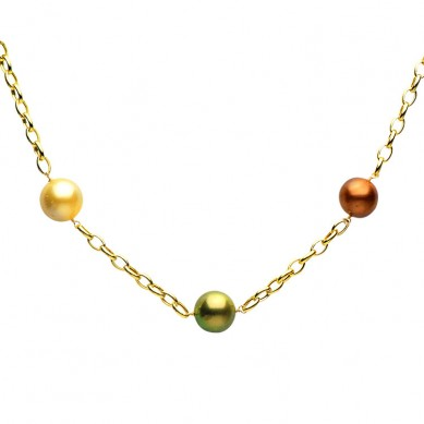 14K Yellow Gold 12-15mm Golden South Sea & Multi Enhanced Tahitian Pearl Necklace - N005079 - Small Image