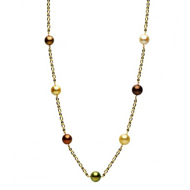 14K Yellow Gold 11-15mm Golden South Sea & Multi Enhanced Tahitian Pearl Necklace - N005080 - Small Image