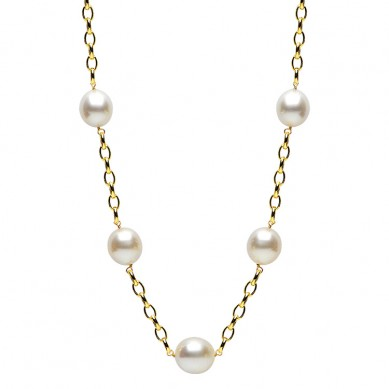 14K Yellow Gold 12-15mm Enhanced Tahitian Pearl Necklace - N005084 - Small Image
