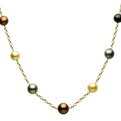 14K Yellow Gold 10-13mm Golden South Sea & Multi Enhanced Tahitian Pearl Necklace - N005086 - Small Image