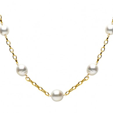 14K Yellow Gold 12-15mm South Sea Pearl Necklace - N005087 - Small Image