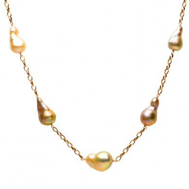 14K Rose Gold Pink Freshwater Pearl Necklace - N005093 - Small Image