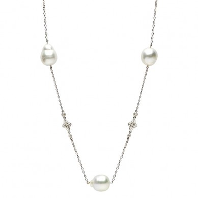14K White Gold 11-12mm South Sea Pearl & Diamond Necklace (0.90 ct. tw.) - N005096 - Small Image