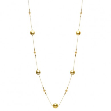 14K Yellow Gold 11-12mm Golden South Sea Pearl & Diamond Necklace (0.90 ct. tw.) - N005097 - Small Image
