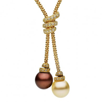 Pearl and Diamond Lariat Necklace (0.33 ct. tw.) - N005108 - Small Image