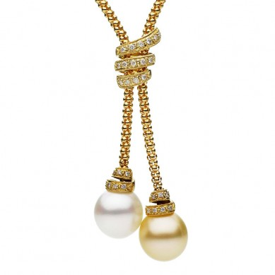 18K Yellow Gold 12-13mm White & Golden South Sea Pearl & Diamond Necklace (0.33 ct. tw.) - N005109 - Small Image