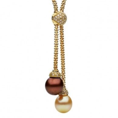 18K Yellow Gold 11-12mm Golden South Sea Pearl, Enhanced Tahitian Pearl & Diamond Necklace (0.43 ct. tw.) - N005110 - Small Image