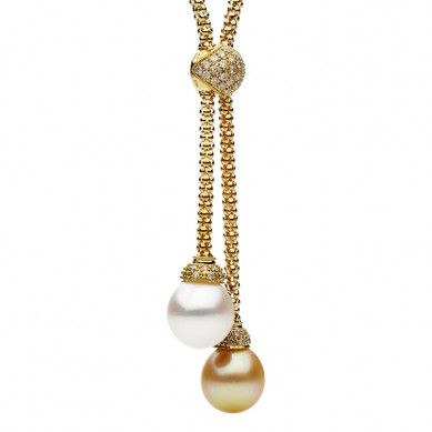 18K Yellow Gold 12-13mm White & Golden South Sea Pearl & Diamond Necklace (0.43 ct. tw.) - N005111 - Small Image