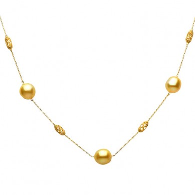 14K Yellow Gold 11-12mm Golden South Sea Pearl & Diamond Necklace (0.14 ct. tw.) - N005118 - Small Image