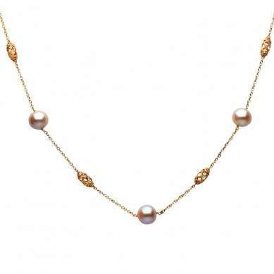 14K White Gold 11-12mm Pink Freshwater Pearl Necklace (0.14 ct. tw.) - N005119 - Small Image