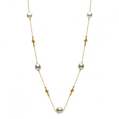 14K Yellow Gold 11-12mm South Sea Pearl & Diamond Necklace (0.90 ct. tw.) - N005128 - Small Image