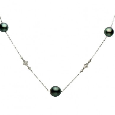 14K White Gold 11-12mm Tahitian Pearl & Diamond Necklace (0.80 ct. tw.) - N005129 - Small Image