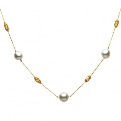 14K Yellow Gold 11-12mm South Sea Pearl & Diamond Necklace (0.14 ct. tw.) - N005130 - Small Image