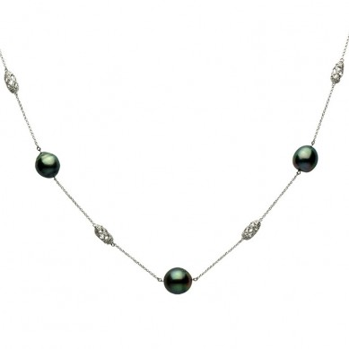 14K White Gold 11-12mm Tahitian Pearl & Diamond Necklace (0.14 ct. tw.) - N005131 - Small Image