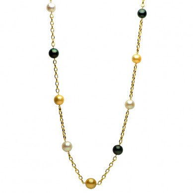 14K Yellow Gold 12-15mm White & Golden South Sea & Tahitian Pearl Necklace - N005137 - Small Image
